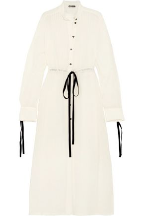 ANN DEMEULEMEESTER Pintucked wool-blend gauze maxi shirt dress