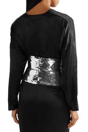 OSCAR DE LA RENTA Sequined silk waist belt