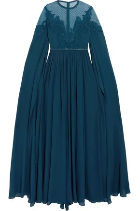 ELIE SAAB Cape-effect point d'esprit-paneled embroidered crepe gown