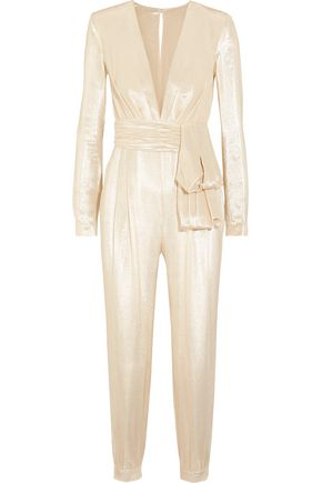 ZUHAIR MURAD Tie-front metallic silk-blend jumpsuit