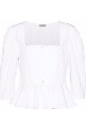 TEMPERLEY LONDON Ruffled cotton peplum top