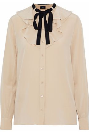 JOSEPH Pussy-bow ruffled silk crepe de chine blouse