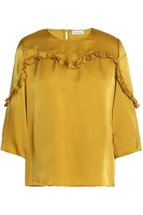 CLAUDIE PIERLOT Ruffle-trimmed embossed satin-jacquard blouse