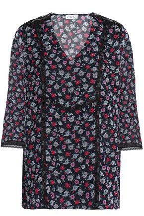 CLAUDIE PIERLOT Lace-trimmed floral-print chiffon blouse