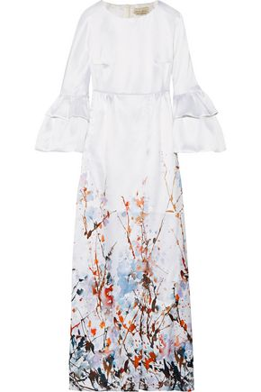 MERCHANT ARCHIVE Ruffled printed satin-crepe gown