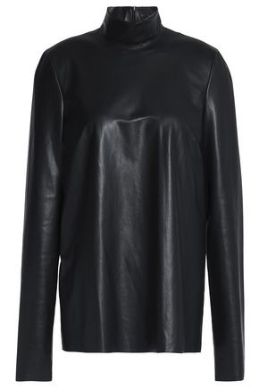 JOSEPH Faux leather turtleneck top