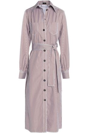 JOSEPH Belted striped cotton-poplin shirt dress