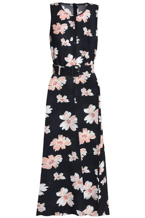 JOSEPH Belted floral-print canvas midi dress