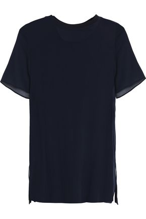 JOSEPH Layered silk-georgette and cotton-jersey T-shirt