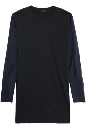 JOSEPH Silk georgette-paneled cotton-jersey top