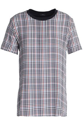 JOSEPH Prince of Wales checked cotton-jersey and silk-georgette T-shirt