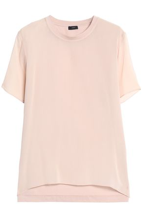 Layered Silk Georgette And Cotton Jersey T Shirt by Joseph