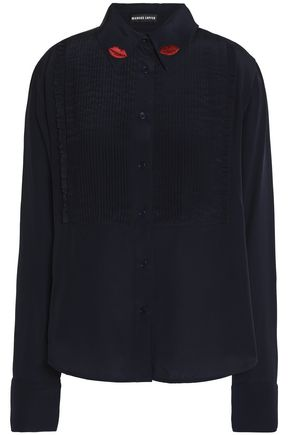 MARKUS LUPFER Embroidered silk-crepe shirt