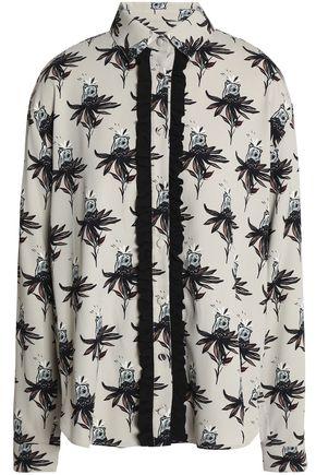 MARKUS LUPFER Ruffle-trimmed printed crepe shirt
