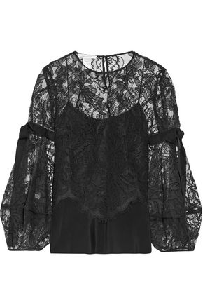 OSCAR DE LA RENTA Ruffled corded lace silk top