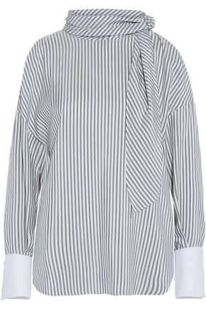 BRUNELLO CUCINELLI Pussy-bow striped silk-satin top