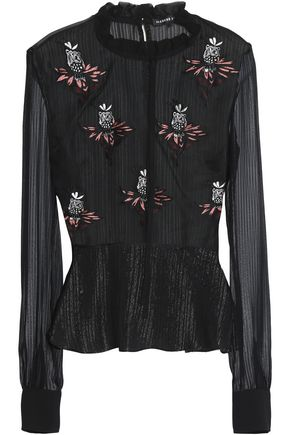 MARKUS LUPFER Embellished silk-blend voile top