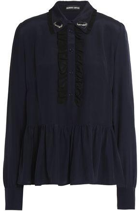 MARKUS LUPFER Skye ruffle-trimmed embellished silk blouse