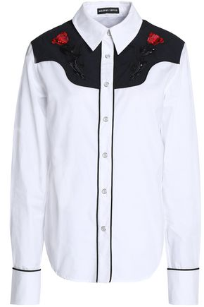MARKUS LUPFER Paneled embellished cotton-poplin shirt