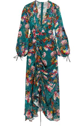 PREEN by THORNTON BREGAZZI Gathered floral-print velvet maxi dress