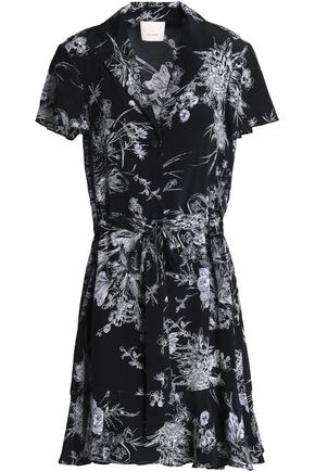CINQ À SEPT Printed silk shirt dress
