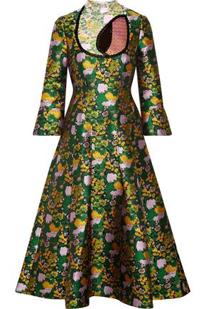 ERDEM Flared floral-print jacquard dress