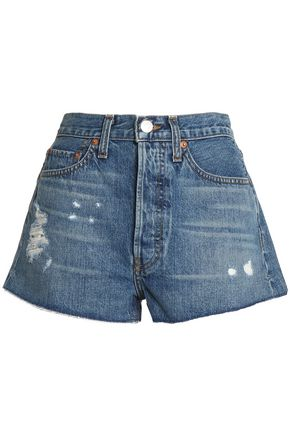 RE/DONE Distressed denim shorts