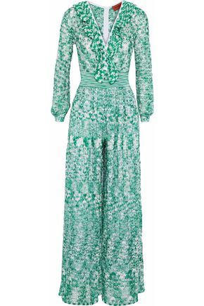 MISSONI Ruffle-trimmed crochet-knit jumpsuit