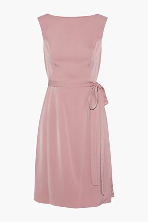 MIKAEL AGHAL Corded lace-paneled crepe de chine dress