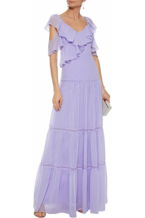 MIKAEL AGHAL Cold-shoulder ruffled chiffon gown