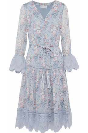 MIKAEL AGHAL Guipure lace-trimmed floral-print georgette dress
