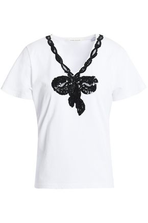 MARC JACOBS Sequined embroidered jersey T-shirt
