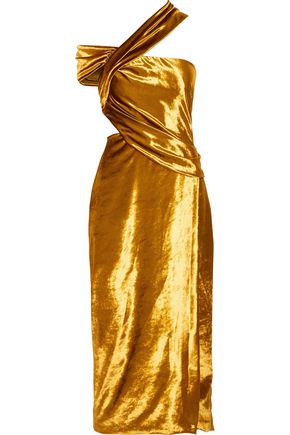 JASON WU One-shoulder cutout metallic velvet midi dress