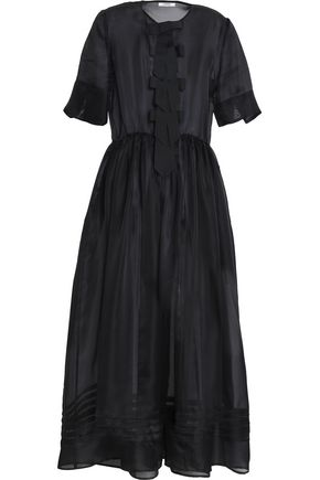GANNI Bow-detailed silk-organza maxi dress