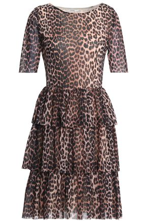 GANNI Tiered leopard-print mesh dress