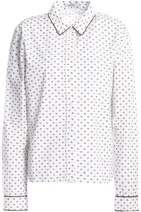 GANNI Printed cotton-poplin shirt