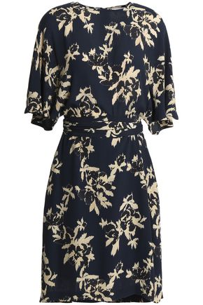GANNI St. Pierre gathered floral-print crepe dress