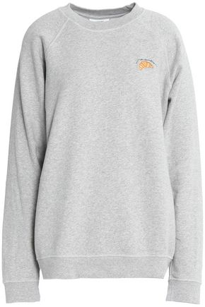 GANNI Isoli embroidered mélange cotton-jersey sweatshirt