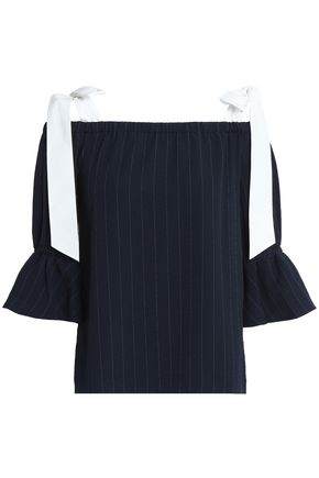 GANNI Clark cold-shoulder bow-detailed pinstriped crepe top