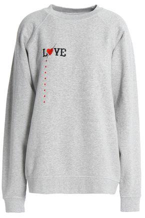 GANNI Paloma Love embroidered mélange cotton-jersey sweatshirt