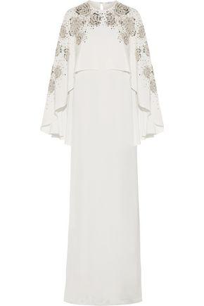 OSCAR DE LA RENTA Cape-effect embellished silk gown