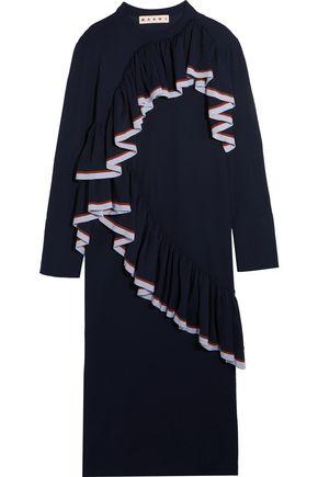 MARNI Ruffle-trimmed stretch-jersey midi dress