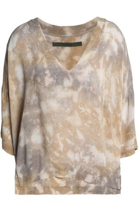 ENZA COSTA Tie-dyed crepe top