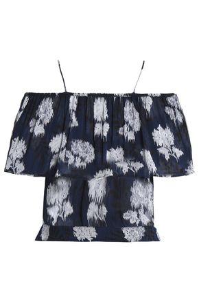 GANNI Cold-shoulder ruffled floral-print georgette blouse