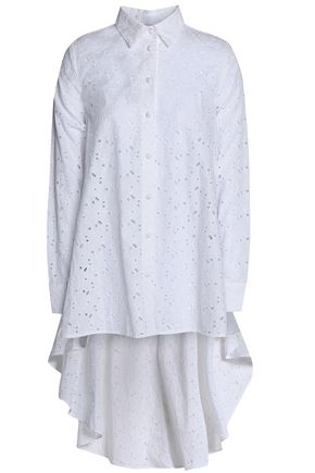 CO Asymmetric broderie anglaise cotton shirt