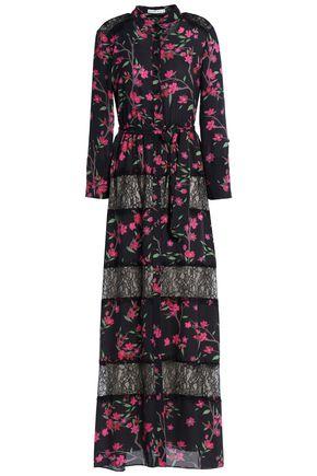 ALICE+OLIVIA Lace-paneled printed crepe maxi dress