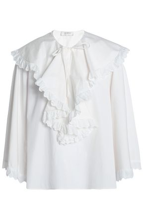 ISA ARFEN Broderie anglaise-trimmed ruffled cotton-poplin blouse