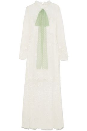 CHLOÉ Pussy-bow embroidered chiffon maxi dress