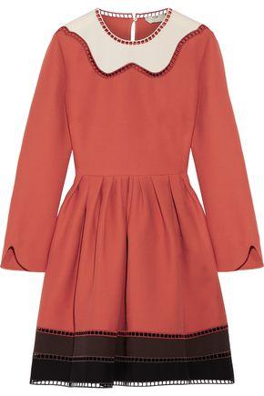 FENDI Flared wool and silk-blend mini dress