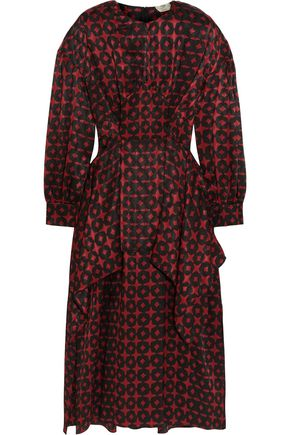 FENDI Paneled draped printed silk-jacquard midi dress
